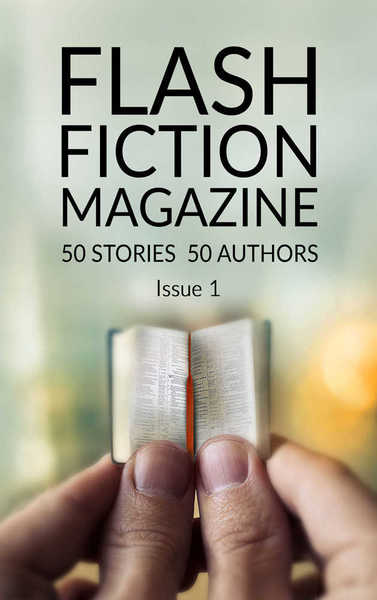Flash Fiction Magazine, Issue 1 cover with a pair of hands holding a tiny book.
