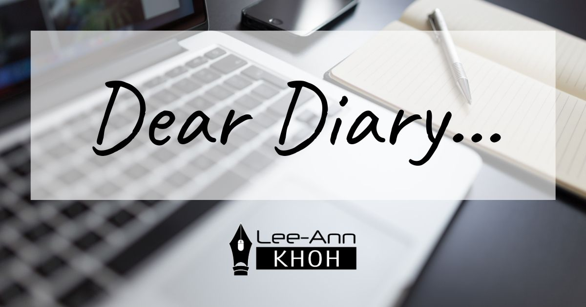 Text reads: Dear Diary. Background contains laptop, notebook, pen and smartphone.