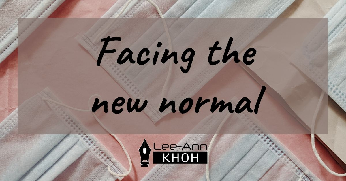 Text reads: Facing the new normal. Background contains surgical masks.
