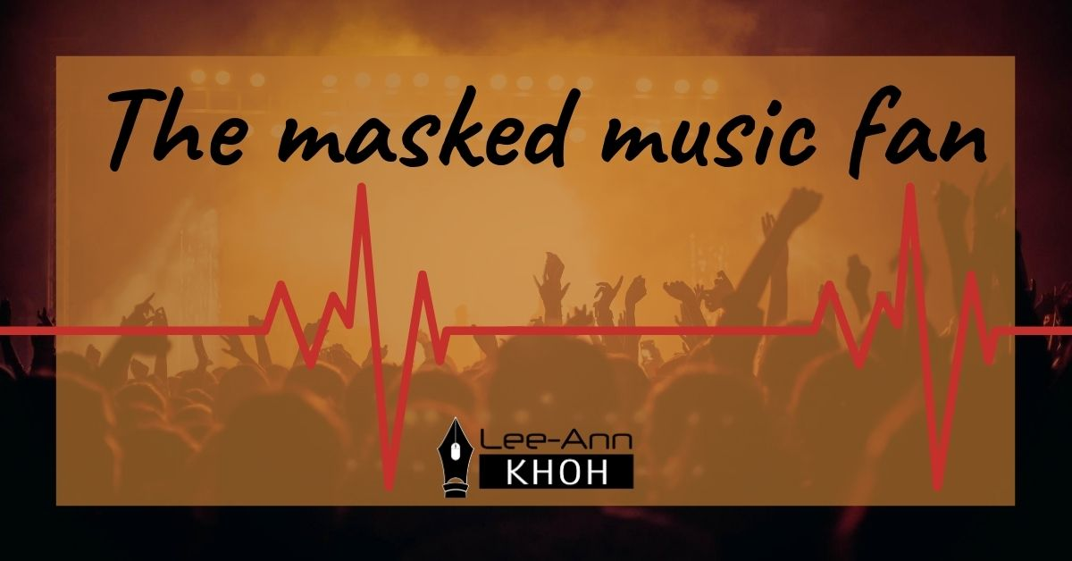Text reads: The masked music fan. Image contains a concert crowd and a heartbeat line.