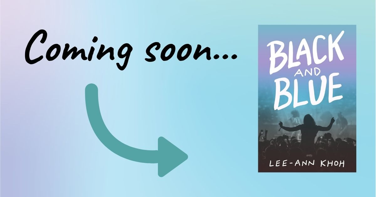 Text reads: Coming soon. Arrow points to book cover for Black and Blue by Lee-Ann Khoh.