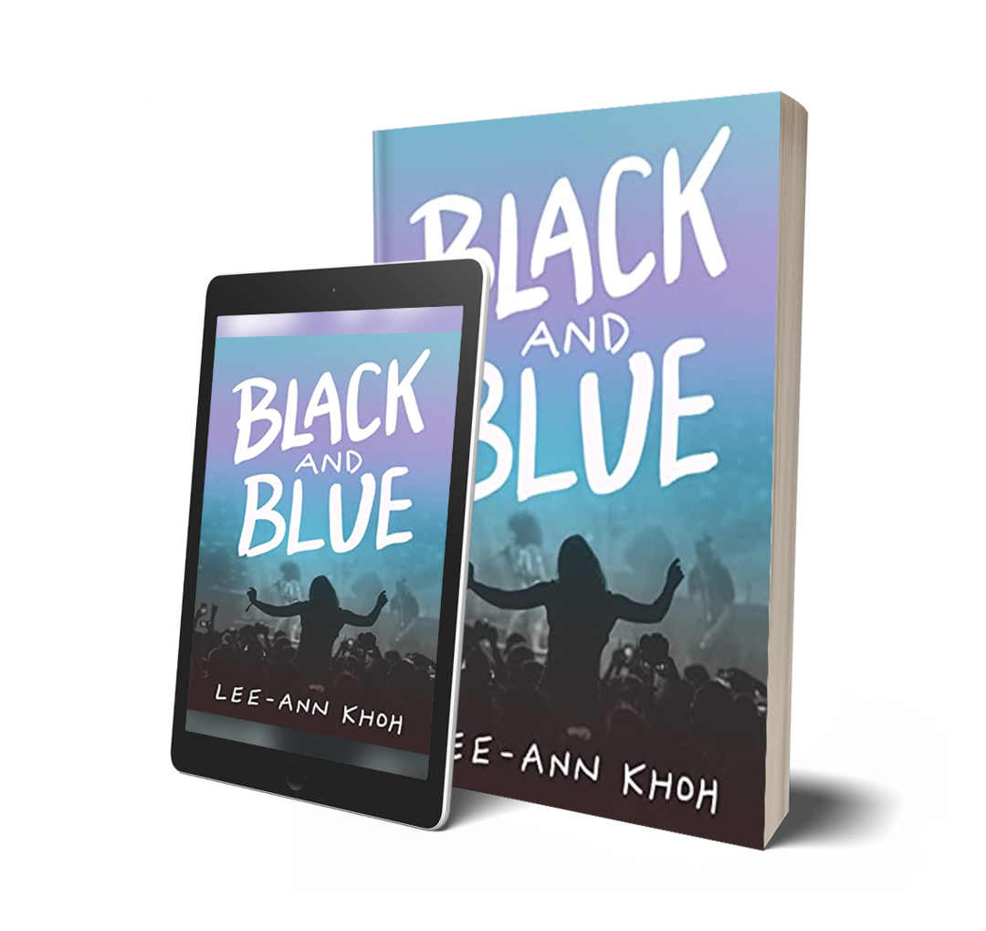 Mockups of Black and Blue by Lee-Ann Khoh as a print book and an eBook on a tablet.